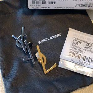 Saint Laurent YSL Logo Clip Earrings Black/Gold